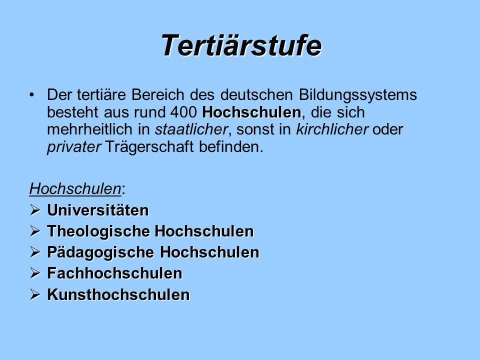 Tertiärstufe HochschulenDer tertiäre Bereich des deutschen Bildungssystems besteht aus rund 400 Hochschulen, die sich mehrheitlich in staatlicher, son