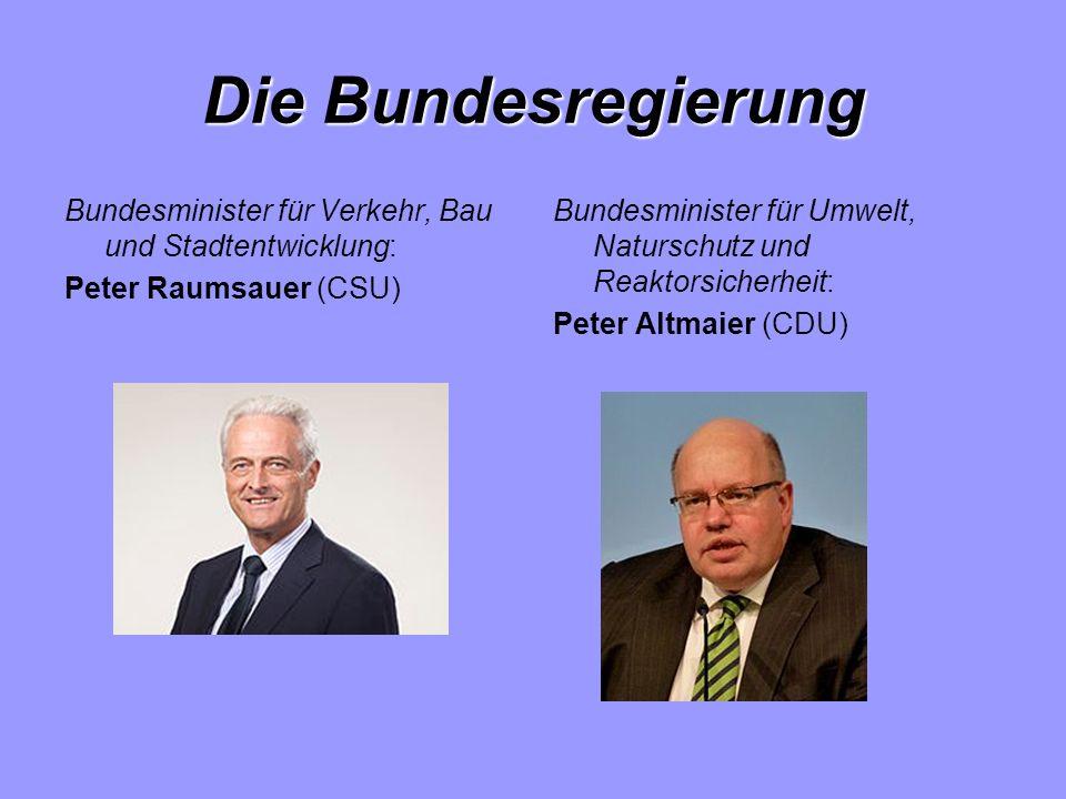 Die Bundesregierung Bundesminister für Verkehr, Bau und Stadtentwicklung: Peter Raumsauer (CSU) Bundesminister für Umwelt, Naturschutz und Reaktorsicherheit: Peter Altmaier (CDU)