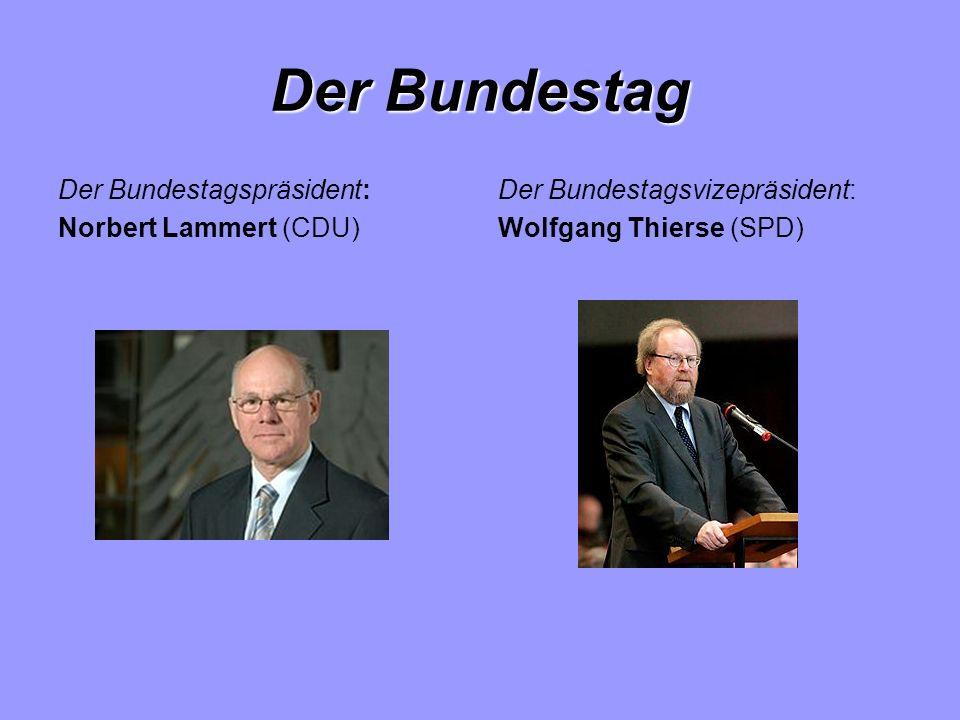 Der Bundestag Der Bundestagspräsident: Norbert Lammert (CDU) Der Bundestagsvizepräsident: Wolfgang Thierse (SPD)