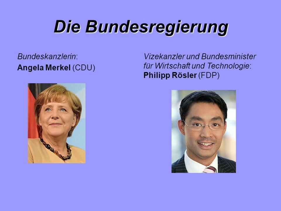 Die Bundesregierung Bundeskanzlerin: Angela Merkel (CDU) Vizekanzler und Bundesminister für Wirtschaft und Technologie: Philipp Rösler (FDP)