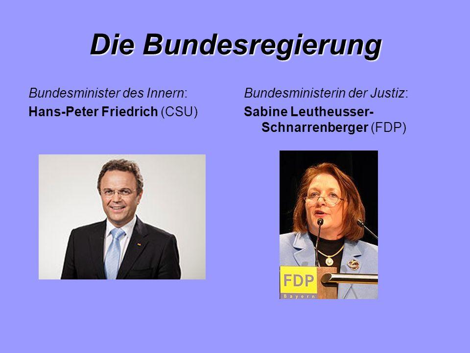 Die Bundesregierung Bundesminister des Innern: Hans-Peter Friedrich (CSU) Bundesministerin der Justiz: Sabine Leutheusser- Schnarrenberger (FDP)