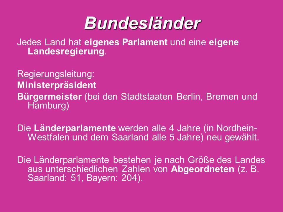 Bundesländer Jedes Land hat eigenes Parlament und eine eigene Landesregierung. Regierungsleitung: Ministerpräsident Bürgermeister (bei den Stadtstaate