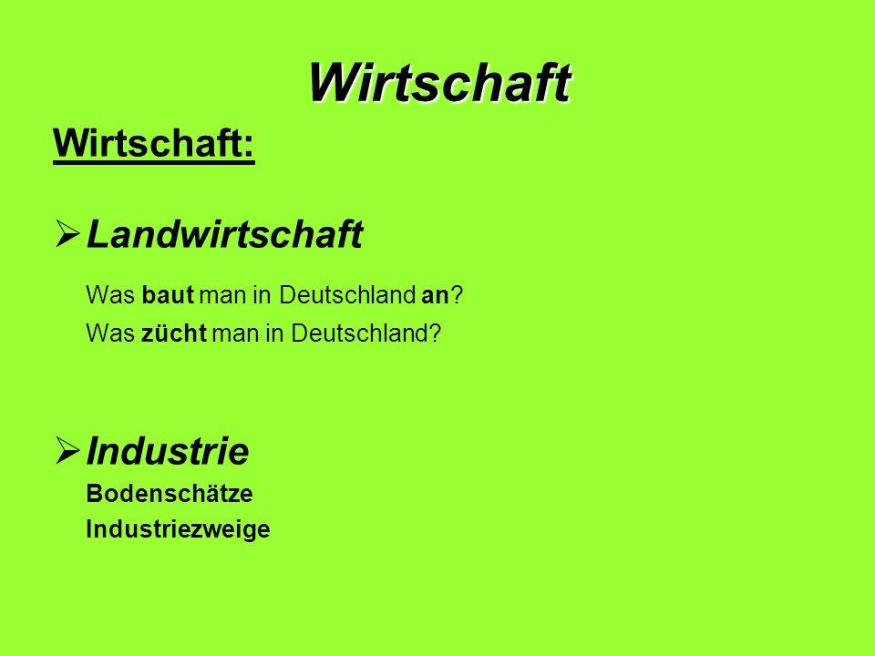 Wirtschaft Wirtschaft: Landwirtschaft Was baut man in Deutschland an? Was zücht man in Deutschland? Industrie Bodenschätze Industriezweige