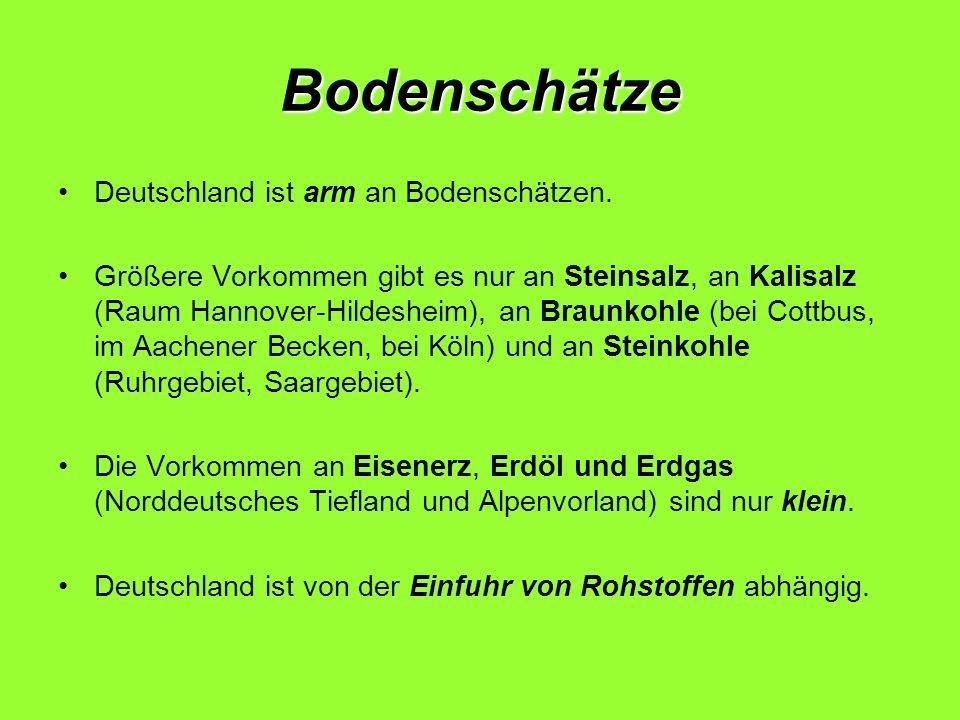 Bodenschätze Deutschland ist arm an Bodenschätzen. Größere Vorkommen gibt es nur an Steinsalz, an Kalisalz (Raum Hannover-Hildesheim), an Braunkohle (