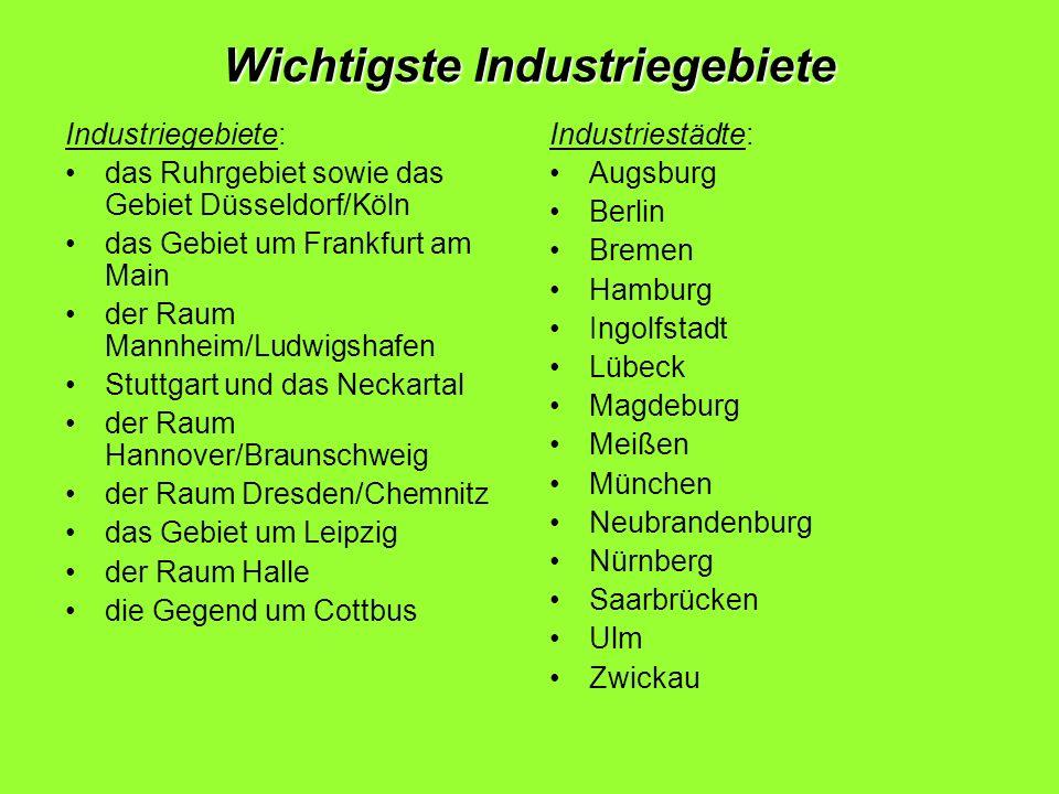 Wichtigste Industriegebiete Industriegebiete: das Ruhrgebiet sowie das Gebiet Düsseldorf/Köln das Gebiet um Frankfurt am Main der Raum Mannheim/Ludwig