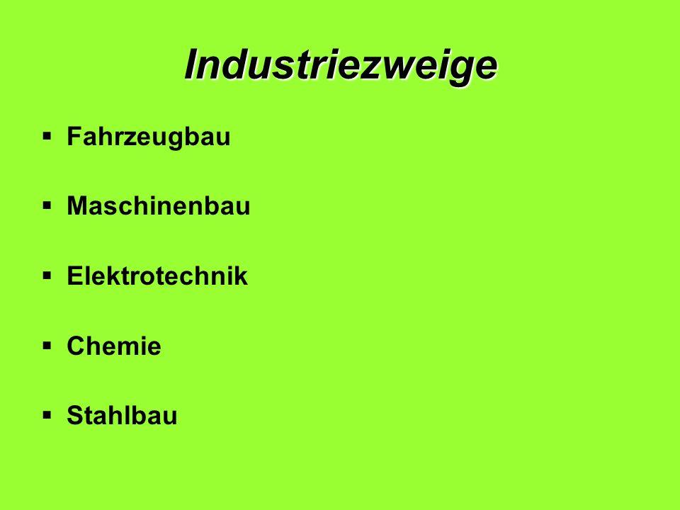 Fabriken, Konzerne die Autohersteller: Daimler AG (Mercedes-Benz) [Stuttgart] Volkswagen (+ Porsche, Audi) [Wolfsburg] BMW [München] Opel (gehört den USA) die Elektrokonzerne: Siemens (München, Berlin) Bosch (Stuttgart) E.ON SE (Düsseldorf) die Chemiekonzerne : Hoechst (Frankfurt am Main) BASF (Ludwigshafen) Bayer (Leverkusen) VEBA (Düsseldorf) Textilkonzerne : Adidas (Herzogenaurach) Puma (Herzogenaurach) Hugo Boss (Metzingen) Welche Unternehmen können Sie?