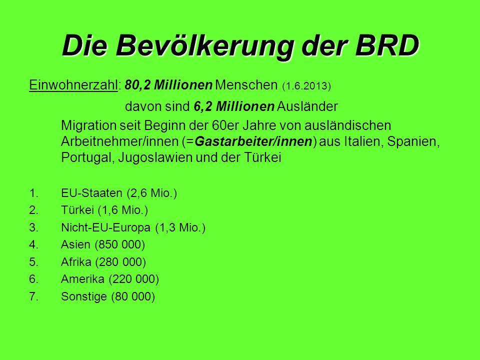 Die Bevölkerung der BRD Einwohnerzahl: 80,2 Millionen Menschen (1.6.2013) davon sind 6,2 Millionen Ausländer Migration seit Beginn der 60er Jahre von