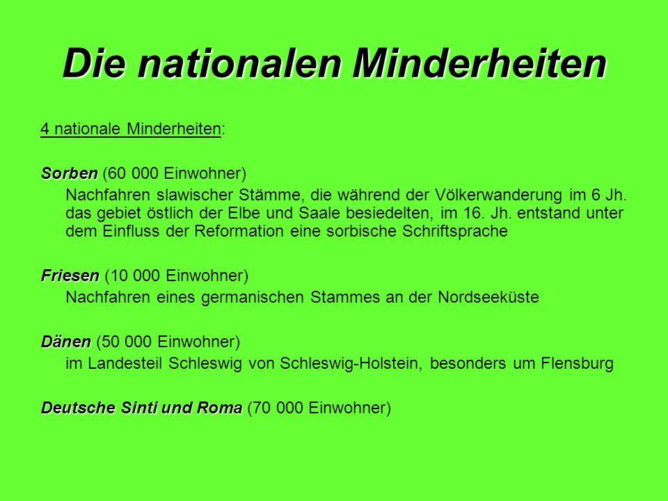 Die nationalen Minderheiten 4 nationale Minderheiten: Sorben Sorben (60 000 Einwohner) Nachfahren slawischer Stämme, die während der Völkerwanderung i