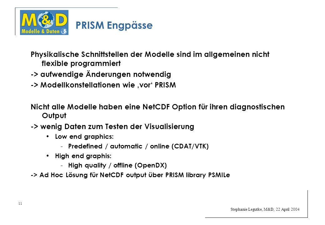 Stephanie Legutke, M&D, 22 April 2004 11 PRISM Engpässe Physikalische Schnittstellen der Modelle sind im allgemeinen nicht flexible programmiert -> aufwendige Änderungen notwendig -> Modellkonstellationen wie vor PRISM Nicht alle Modelle haben eine NetCDF Option für ihren diagnostischen Output -> wenig Daten zum Testen der Visualisierung Low end graphics: - Predefined / automatic / online (CDAT/VTK) High end graphis: - High quality / offline (OpenDX) -> Ad Hoc Lösung für NetCDF output über PRISM library PSMILe