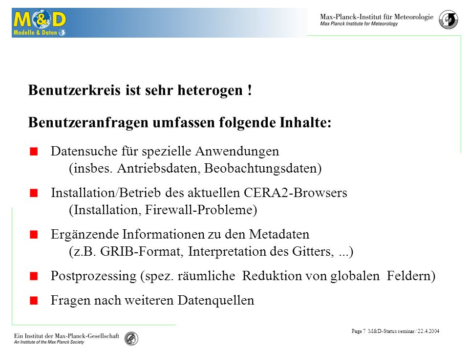 Page 6 M&D-Status seminar / Daten-Download