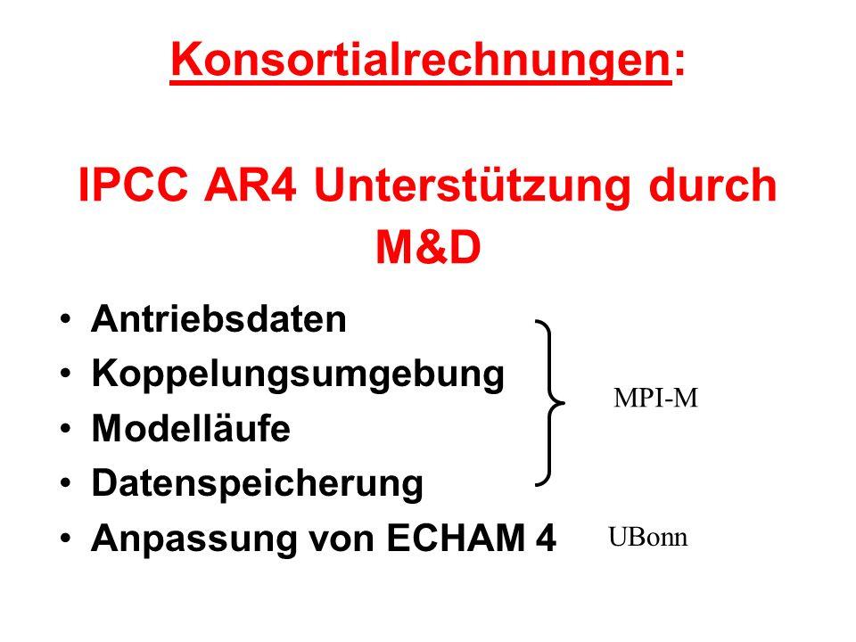Konsortialrechnungen: IPCC AR4 Unterstützung durch M&D Antriebsdaten Koppelungsumgebung Modelläufe Datenspeicherung Anpassung von ECHAM 4 MPI-M UBonn