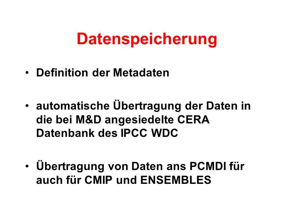 Datenspeicherung Definition der Metadaten automatische Übertragung der Daten in die bei M&D angesiedelte CERA Datenbank des IPCC WDC Übertragung von Daten ans PCMDI für auch für CMIP und ENSEMBLES