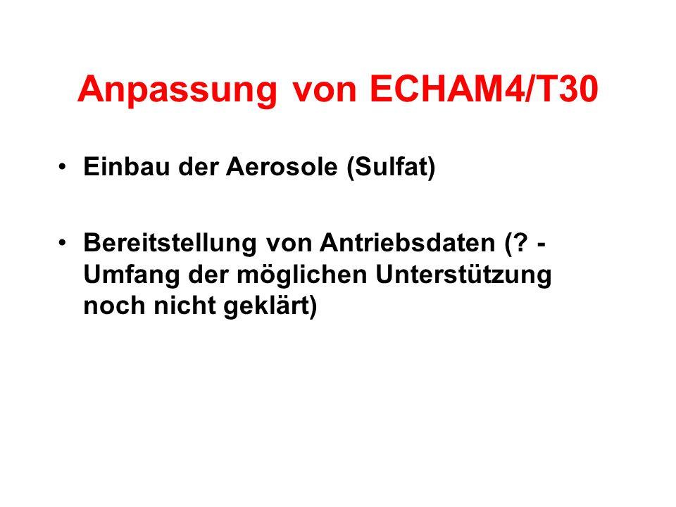 Anpassung von ECHAM4/T30 Einbau der Aerosole (Sulfat) Bereitstellung von Antriebsdaten (.