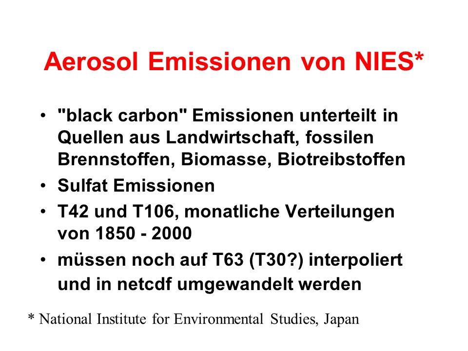 Aerosol Emissionen von NIES* black carbon Emissionen unterteilt in Quellen aus Landwirtschaft, fossilen Brennstoffen, Biomasse, Biotreibstoffen Sulfat Emissionen T42 und T106, monatliche Verteilungen von 1850 - 2000 müssen noch auf T63 (T30?) interpoliert und in netcdf umgewandelt werden * National Institute for Environmental Studies, Japan