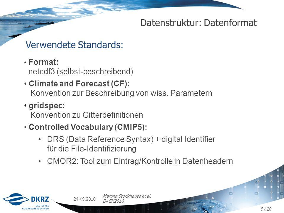 24.09.2010 Martina Stockhause et al. DACH2010 Datenstruktur: Datenformat Verwendete Standards: Format: netcdf3 (selbst-beschreibend) Climate and Forec