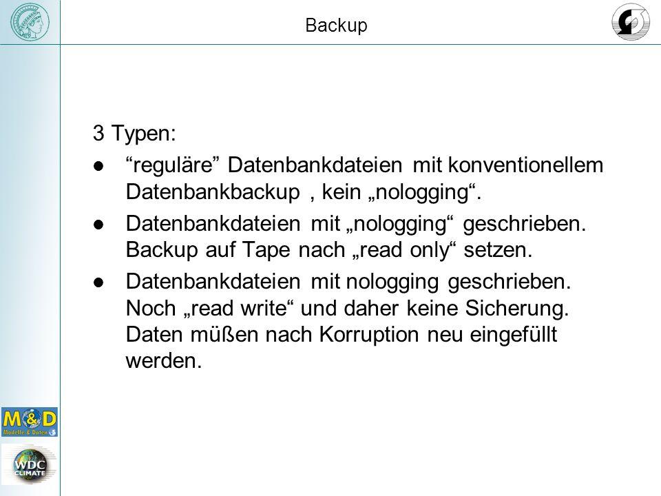 Backup 3 Typen: reguläre Datenbankdateien mit konventionellem Datenbankbackup, kein nologging.