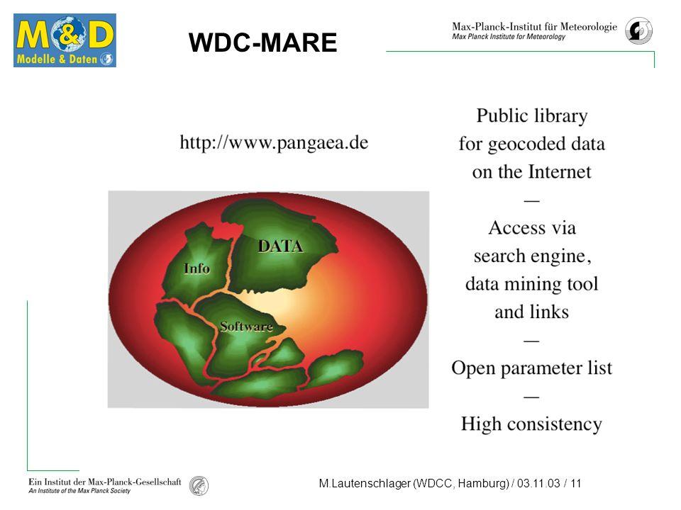 M.Lautenschlager (WDCC, Hamburg) / 03.11.03 / 11 WDC-MARE