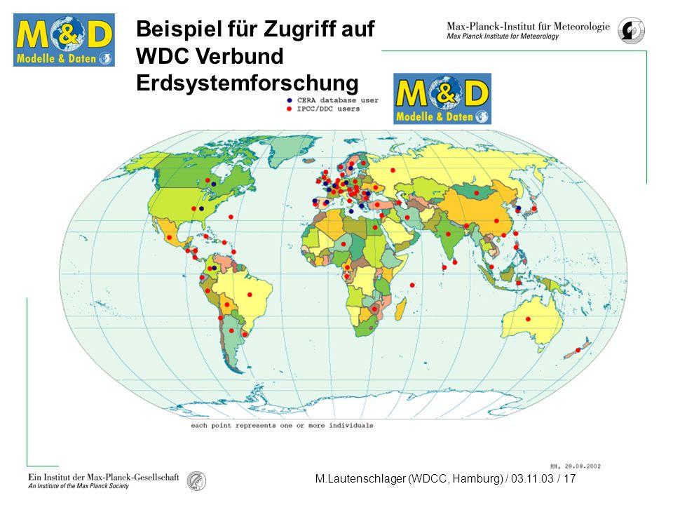 M.Lautenschlager (WDCC, Hamburg) / 03.11.03 / 17 Beispiel für Zugriff auf WDC Verbund Erdsystemforschung