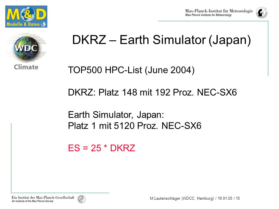 M.Lautenschlager (WDCC, Hamburg) / 19.01.05 / 15 TOP500 HPC-List (June 2004) DKRZ: Platz 148 mit 192 Proz. NEC-SX6 Earth Simulator, Japan: Platz 1 mit
