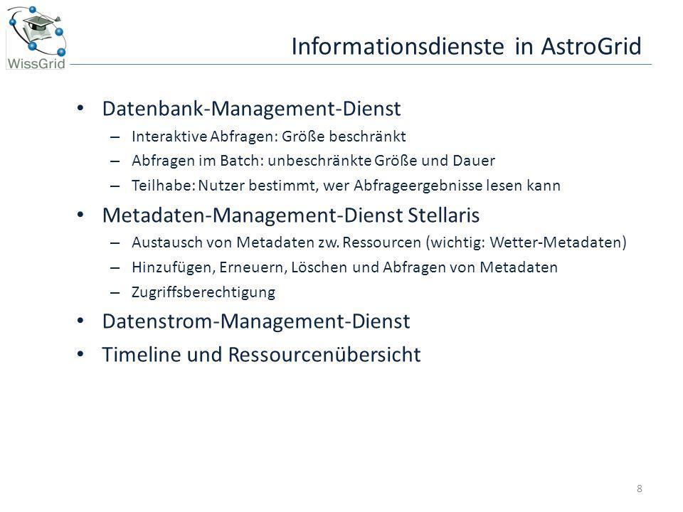 Informationsdienste in AstroGrid Datenbank-Management-Dienst – Interaktive Abfragen: Größe beschränkt – Abfragen im Batch: unbeschränkte Größe und Dau