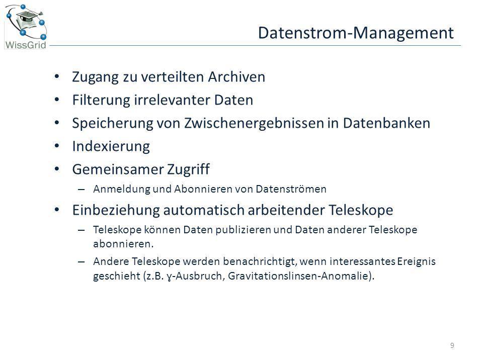 Datenstrom-Management Zugang zu verteilten Archiven Filterung irrelevanter Daten Speicherung von Zwischenergebnissen in Datenbanken Indexierung Gemein