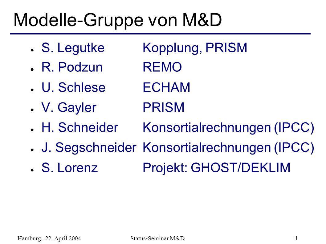 Hamburg, 22. April 2004 Status-Seminar M&D 1 Modelle-Gruppe von M&D S. Legutke R. Podzun U. Schlese V. Gayler H. Schneider J. Segschneider S. Lorenz K