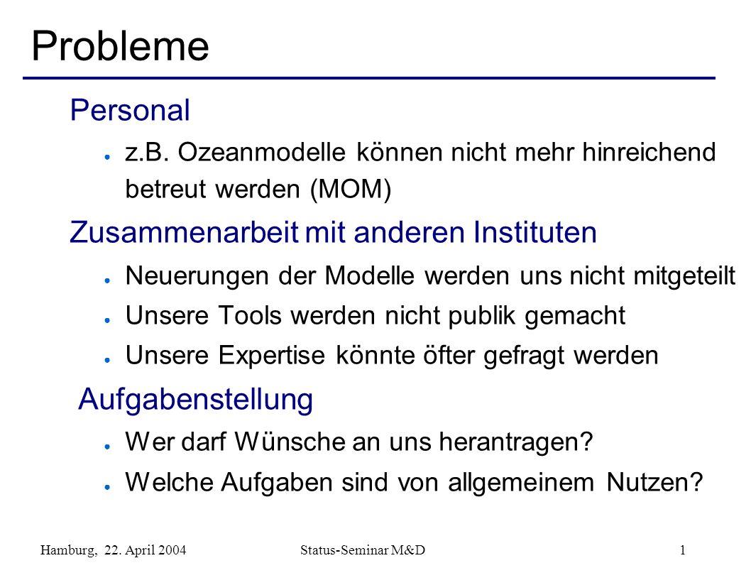 Hamburg, 22. April 2004 Status-Seminar M&D 1 Personal z.B. Ozeanmodelle können nicht mehr hinreichend betreut werden (MOM) Zusammenarbeit mit anderen