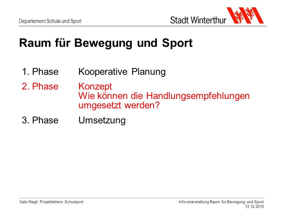 Departement Schule und Sport Gabi Regli, Projektleiterin SchulsportInfoveranstaltung Raum für Bewegung und Sport 13.12.2010 Raum für Bewegung und Sport 1.