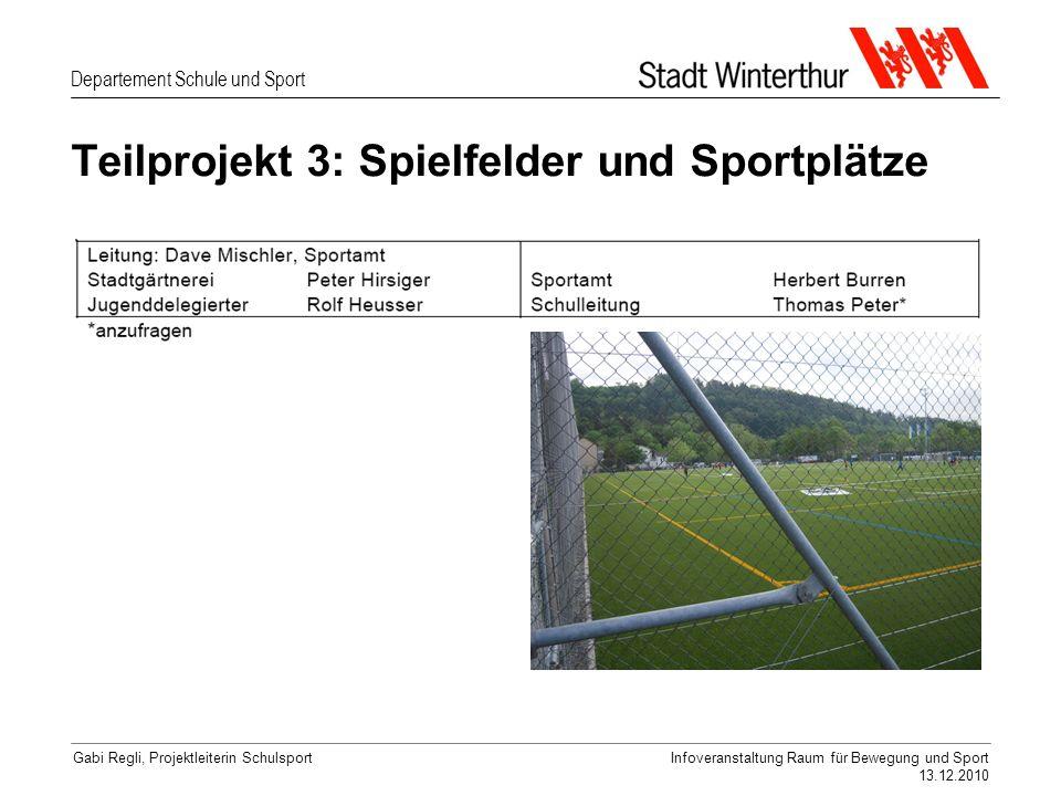 Departement Schule und Sport Gabi Regli, Projektleiterin SchulsportInfoveranstaltung Raum für Bewegung und Sport 13.12.2010 Teilprojekt 3: Spielfelder und Sportplätze