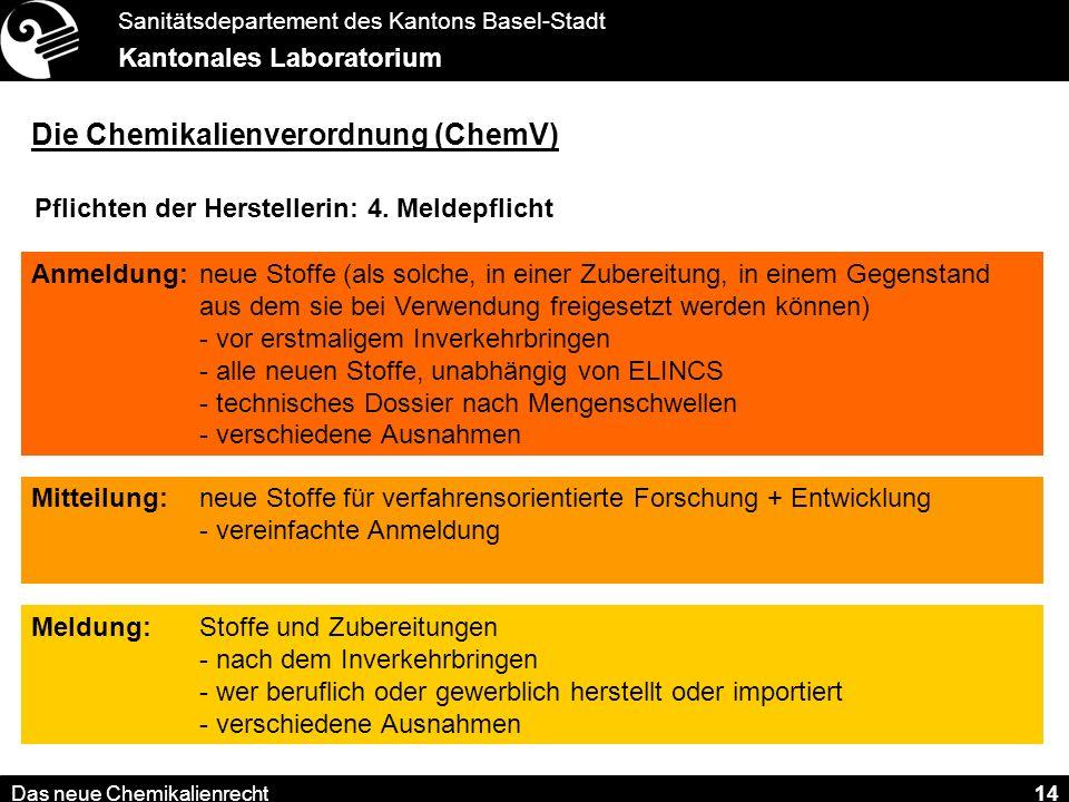 Sanitätsdepartement des Kantons Basel-Stadt Kantonales Laboratorium Das neue Chemikalienrecht 14 Die Chemikalienverordnung (ChemV) Pflichten der Herstellerin: 4.