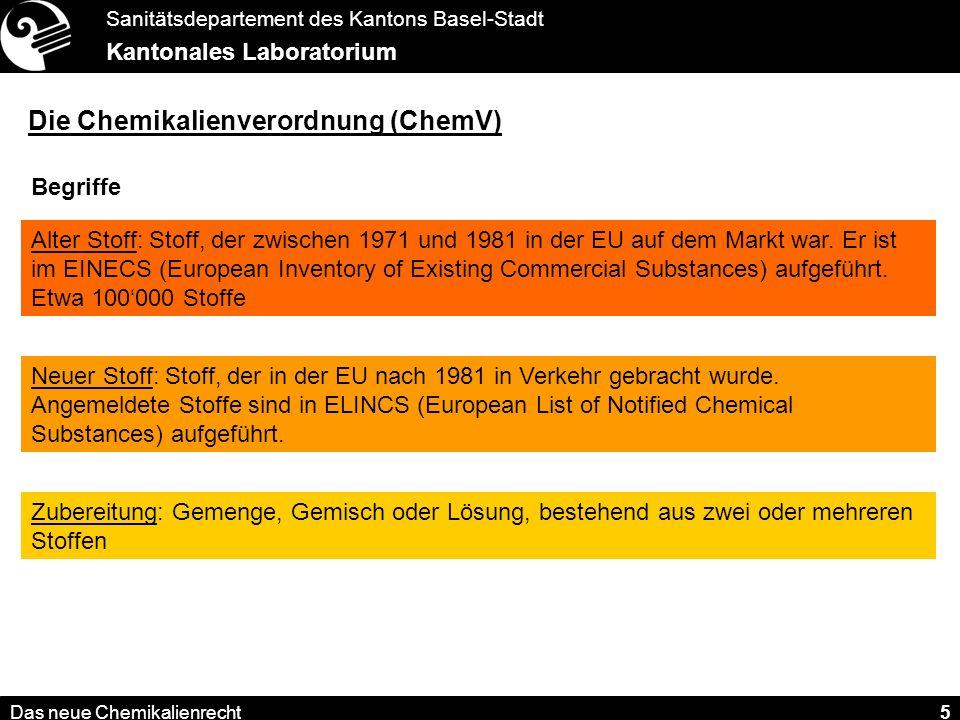 Sanitätsdepartement des Kantons Basel-Stadt Kantonales Laboratorium Das neue Chemikalienrecht 16 Wegfall der Bezugsbewilligungen.