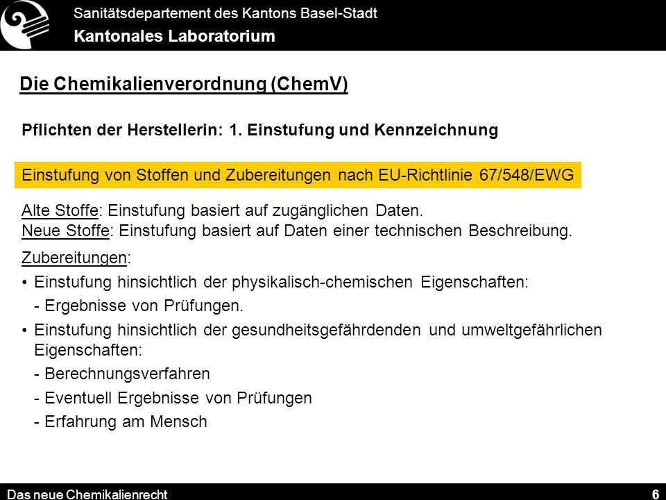 Sanitätsdepartement des Kantons Basel-Stadt Kantonales Laboratorium Das neue Chemikalienrecht 7 Die Chemikalienverordnung (ChemV) Pflichten der Herstellerin: 1.