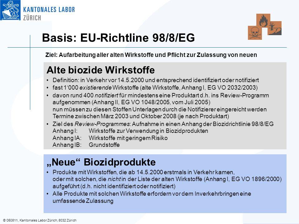 © 050811, Kantonales Labor Zürich, 8032 Zürich Basis: EU-Richtline 98/8/EG Alte biozide Wirkstoffe Definition: in Verkehr vor 14.5.2000 und entspreche