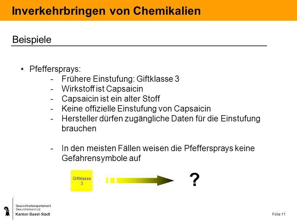 Kanton Basel-Stadt Gesundheitsdepartement Gesundheitsschutz Folie 11 Inverkehrbringen von Chemikalien Beispiele Pfeffersprays: -Frühere Einstufung: Gi
