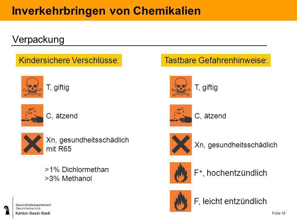Kanton Basel-Stadt Gesundheitsdepartement Gesundheitsschutz Folie 16 Inverkehrbringen von Chemikalien Verpackung Kindersichere Verschlüsse: T, giftig