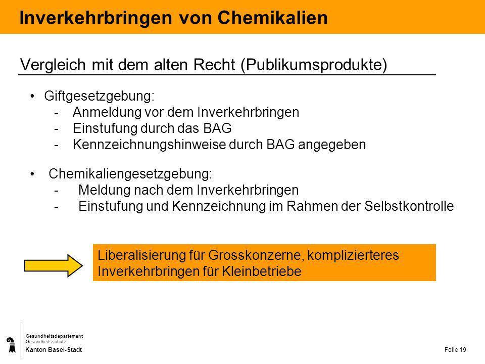 Kanton Basel-Stadt Gesundheitsdepartement Gesundheitsschutz Folie 19 Inverkehrbringen von Chemikalien Vergleich mit dem alten Recht (Publikumsprodukte
