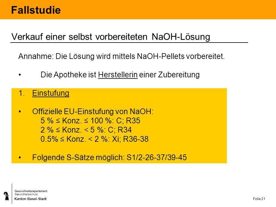 Kanton Basel-Stadt Gesundheitsdepartement Gesundheitsschutz Folie 21 Fallstudie Verkauf einer selbst vorbereiteten NaOH-Lösung Annahme: Die Lösung wir