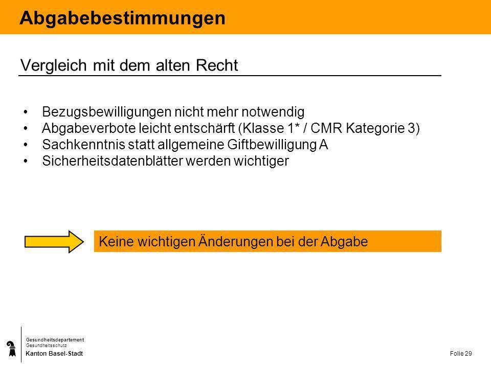Kanton Basel-Stadt Gesundheitsdepartement Gesundheitsschutz Folie 29 Abgabebestimmungen Vergleich mit dem alten Recht Bezugsbewilligungen nicht mehr n