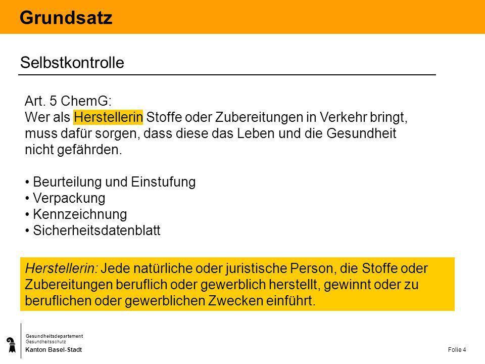 Kanton Basel-Stadt Gesundheitsdepartement Gesundheitsschutz Folie 4 Grundsatz Selbstkontrolle Herstellerin: Jede natürliche oder juristische Person, d
