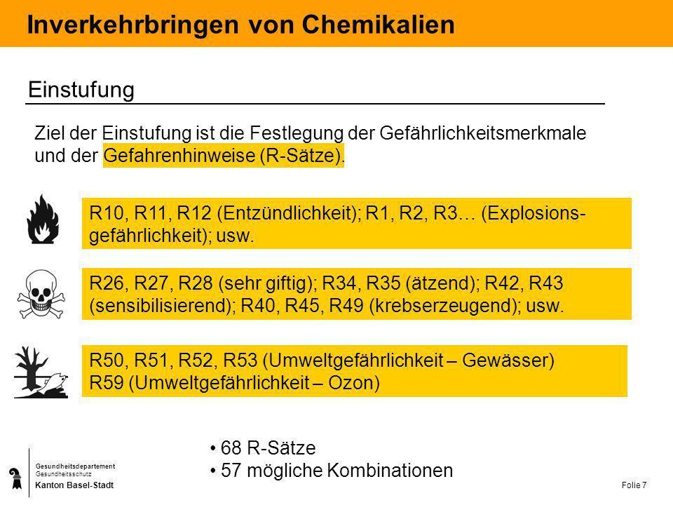 Kanton Basel-Stadt Gesundheitsdepartement Gesundheitsschutz Folie 7 Inverkehrbringen von Chemikalien Einstufung Ziel der Einstufung ist die Festlegung
