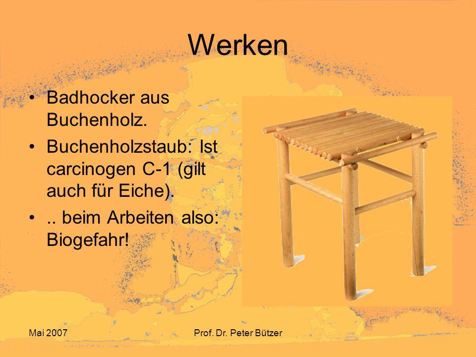 Mai 2007Prof.Dr. Peter Bützer Werken Badhocker aus Buchenholz.