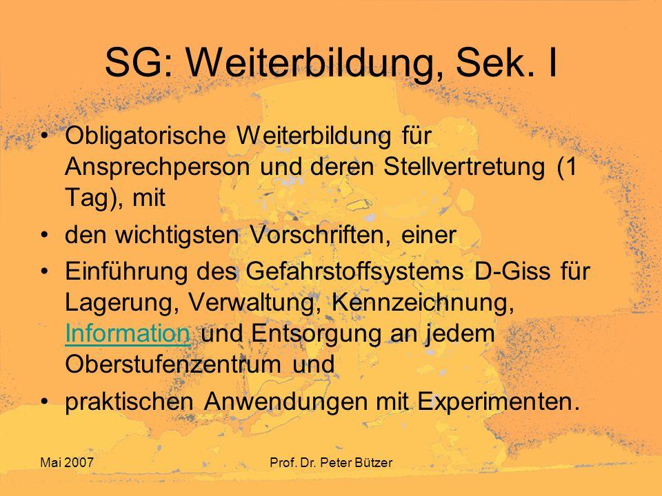 Mai 2007Prof. Dr. Peter Bützer SG: Weiterbildung, Sek. I Obligatorische Weiterbildung für Ansprechperson und deren Stellvertretung (1 Tag), mit den wi