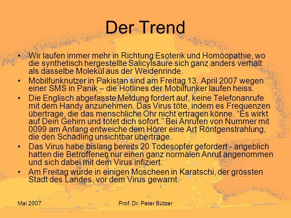 Mai 2007Prof. Dr. Peter Bützer Der Trend Wir laufen immer mehr in Richtung Esoterik und Homöopathie, wo die synthetisch hergestellte Salicylsäure sich