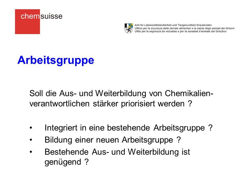 Diskussion Aus- und Weiterbildung von Chemikalienverantwortlichen