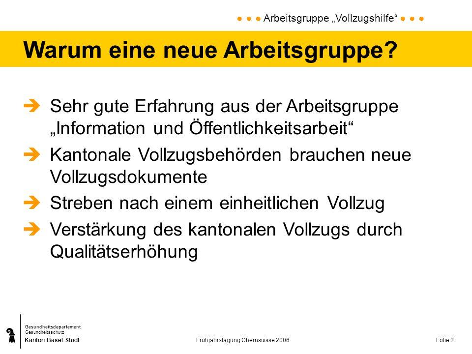 Kanton Basel-Stadt Gesundheitsdepartement Gesundheitsschutz Frühjahrstagung Chemsuisse 2006Folie 2 Warum eine neue Arbeitsgruppe? Sehr gute Erfahrung