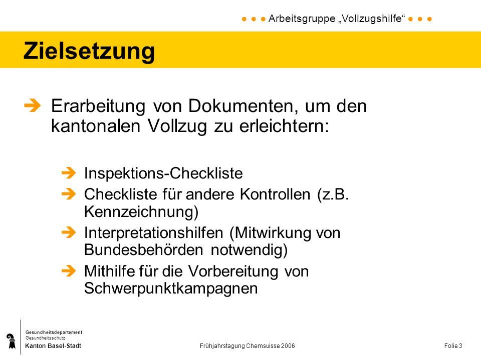Kanton Basel-Stadt Gesundheitsdepartement Gesundheitsschutz Frühjahrstagung Chemsuisse 2006Folie 3 Zielsetzung Erarbeitung von Dokumenten, um den kant