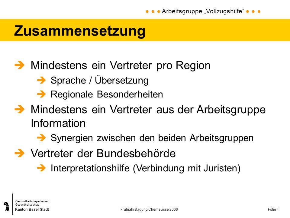 Kanton Basel-Stadt Gesundheitsdepartement Gesundheitsschutz Frühjahrstagung Chemsuisse 2006Folie 4 Zusammensetzung Mindestens ein Vertreter pro Region