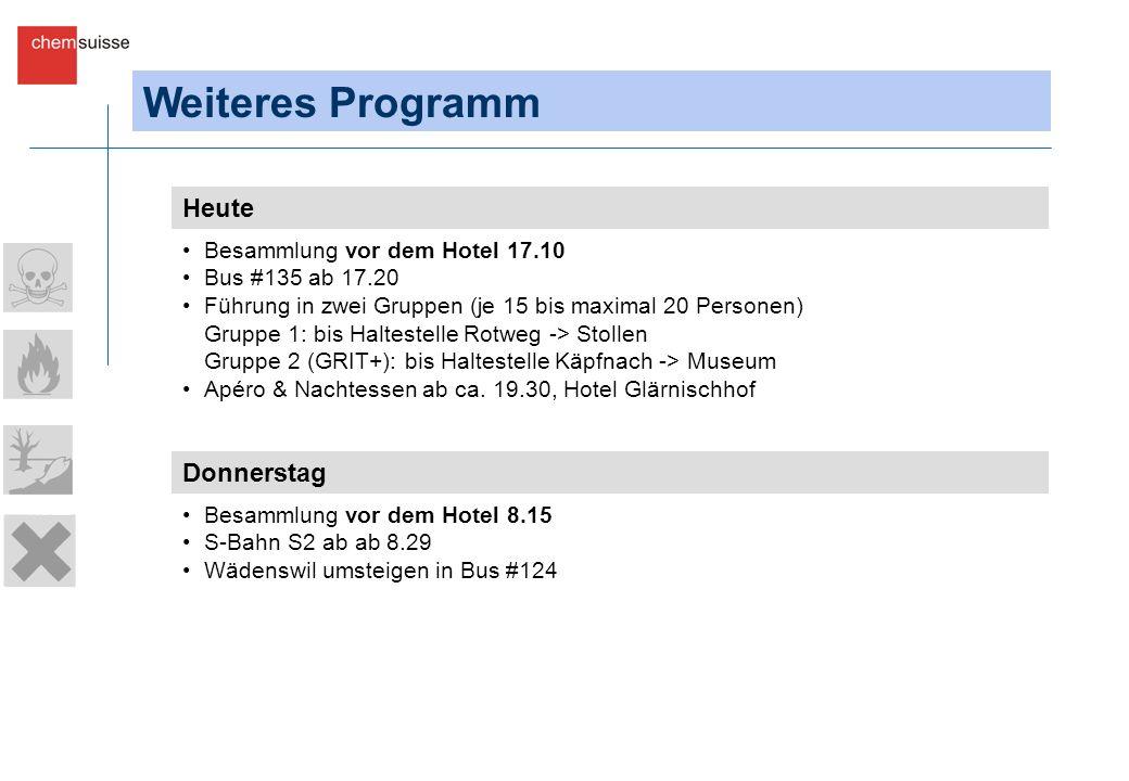 Weiteres Programm Heute Besammlung vor dem Hotel 17.10 Bus #135 ab 17.20 Führung in zwei Gruppen (je 15 bis maximal 20 Personen) Gruppe 1: bis Haltestelle Rotweg -> Stollen Gruppe 2 (GRIT+): bis Haltestelle Käpfnach -> Museum Apéro & Nachtessen ab ca.