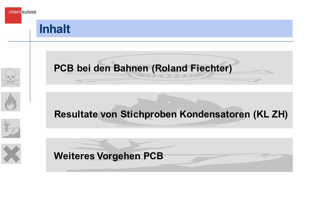 Inhalt PCB bei den Bahnen (Roland Fiechter) Resultate von Stichproben Kondensatoren (KL ZH) Weiteres Vorgehen PCB