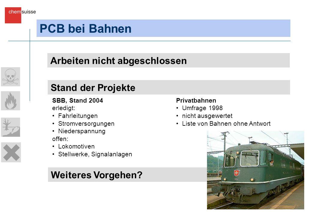 PCB bei Bahnen Arbeiten nicht abgeschlossen Stand der Projekte Weiteres Vorgehen? SBB, Stand 2004 erledigt: Fahrleitungen Stromversorgungen Niederspan
